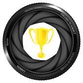 Winner cup in shutter — Stock Vector