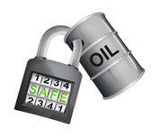 Oil barrel caught in padlock — Stock Vector