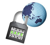 Asia earth globe caught in padlock — Stock Vector