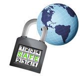America earth globe caught in padlock — Stock Vector