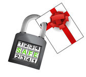 Gift surprise caught in padlock — Stock Vector