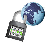 Africa earth globe caught in padlock — Stock Vector