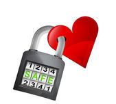 Red heart caught in padlock — Stock Vector