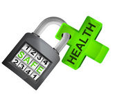 Green cross caught in padlock — Stock Vector