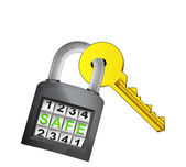 Golden key caught in security closed padlock isolated vector — Stock Vector