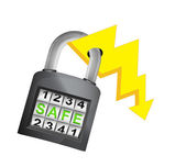 Energy power caught in security closed padlock isolated vector — Stock Vector