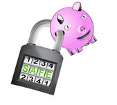 Happy pig caught in security closed padlock isolated vector — Stock Vector