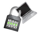 New laptop caught in security closed padlock isolated vector — Stock Vector