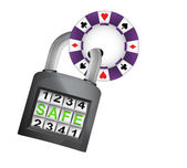 Poker chip caught in security closed padlock isolated vector — Stock Vector