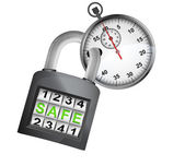 Stopwatch caught in security closed padlock isolated vector — Stock Vector