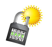Summer sun caught in security closed padlock isolated vector — Stock Vector