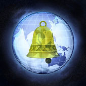 Golden bell on Asia earth globe at cosmic view concept — Stock Photo