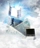 Internet access on top with gate entrance — Stock Photo