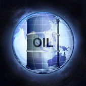 Oil barrel on Asia earth globe at cosmic view concept — Stock Photo