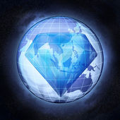 Diamond jewel as Asia earth globe at cosmic view concept — ストック写真