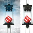 Lucky dice in sky elevator concept — Stock Photo #45709007