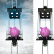 Happy pig in sky elevator concept — Stock Photo #45709063
