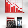 Hourglass with negative business calculations and graph — Stock Photo #45709697