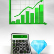 Expensive diamond with positive business calculations with graph — Stok fotoğraf #45709747
