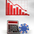 Poker chip with negative business calculations and graph — Stock Photo #45709749