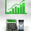 Hourglass with positive business calculations with graph — Stock Photo #45709823