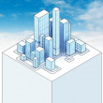 Isometric view to office city sky scene 02 — Stock Photo #45709865