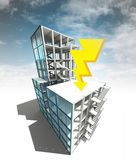 Thunderbolt concept of architectural building plan with sky — Stock Photo