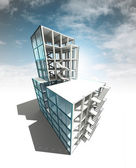 Concept of architectural building plan with sky render — Photo