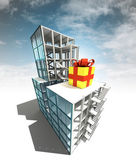 Present concept of architectural building plan with sky — Stok fotoğraf