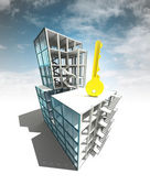 Access key concept of architectural building plan with sky — Photo