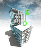 Green key concept of architectural building plan with sky — Stock Photo