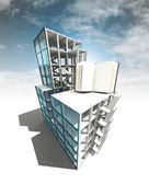 Knowledge concept of architectural building plan with sky — Стоковое фото