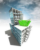 Trade concept of architectural building plan with sky — Stock Photo