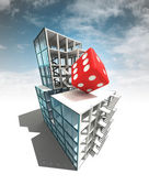 Lucky concept of architectural building plan with sky — Stock Photo