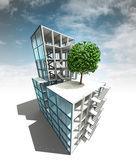 Nature fliendly concept of architectural building plan with sky — Stock Photo