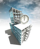 Time manage concept of architectural building plan with sky — Стоковое фото