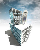 Call concept of architectural building plan with sky — Stock Photo