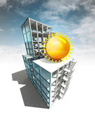 Summer work concept of architectural building plan with sky — Stock Photo