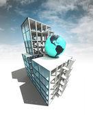 美国国家建筑理念与天空的建筑计划 — 图库照片