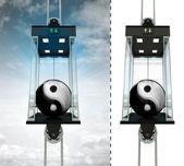 Harmonie prvek v sky výtah koncepce — Stock fotografie