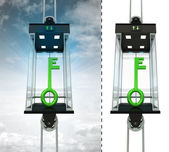 Green key in sky elevator concept — Stock Photo