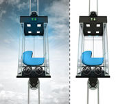Blue pushchair in sky elevator concept — Stock Photo