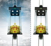 Royal crown in sky elevator concept — Stock Photo