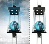 Afrika-Erdkugel in Himmel-Aufzug-Konzept — Stockfoto