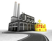 Royal crown with factory supply road concept — Stock Photo