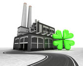Cloverleaf happiness with factory supply road concept — Stock Photo