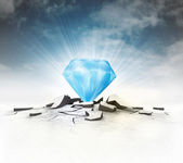 Blue diamond stuck into ground with flare and sky — Stock Photo