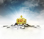 Royal crown stuck into ground with flare and sky — Stock Photo