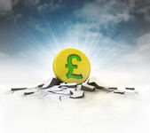 Golden Pound coin strike into ground with flare and sky — Stock Photo