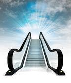Empty escalator leading to sky concept render — Stock Photo